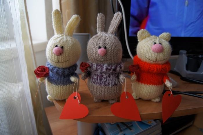 вязаные игрушки на день святого валентина