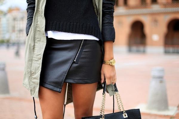 С чем носить короткую кожаную юбку? Не бойтесь попробовать!