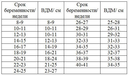 Таблица роста матки по неделям